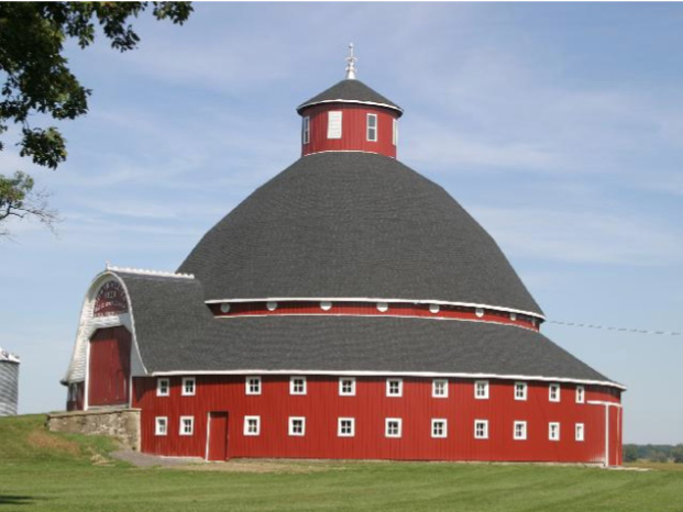 Famous Manchester Round Barn in Lakeview, Ohio, now with classic barn red paint.