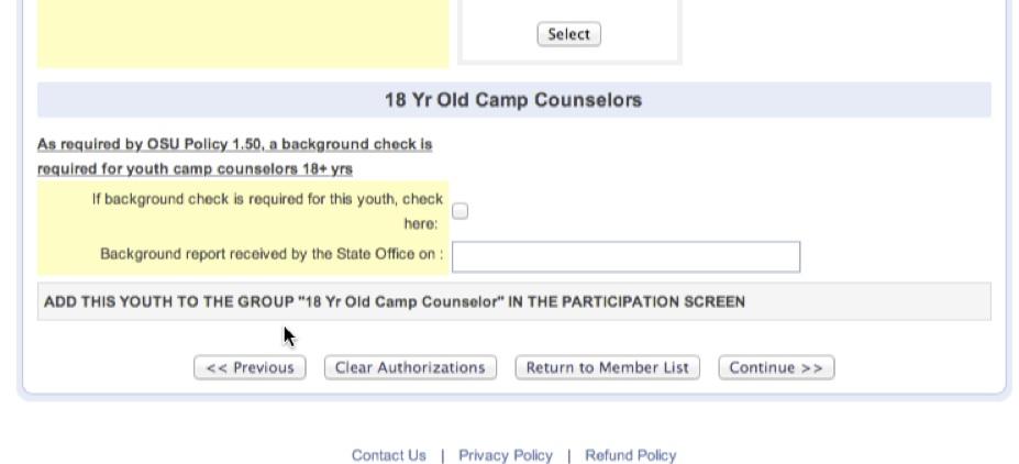 Screenshot of Participation screen
