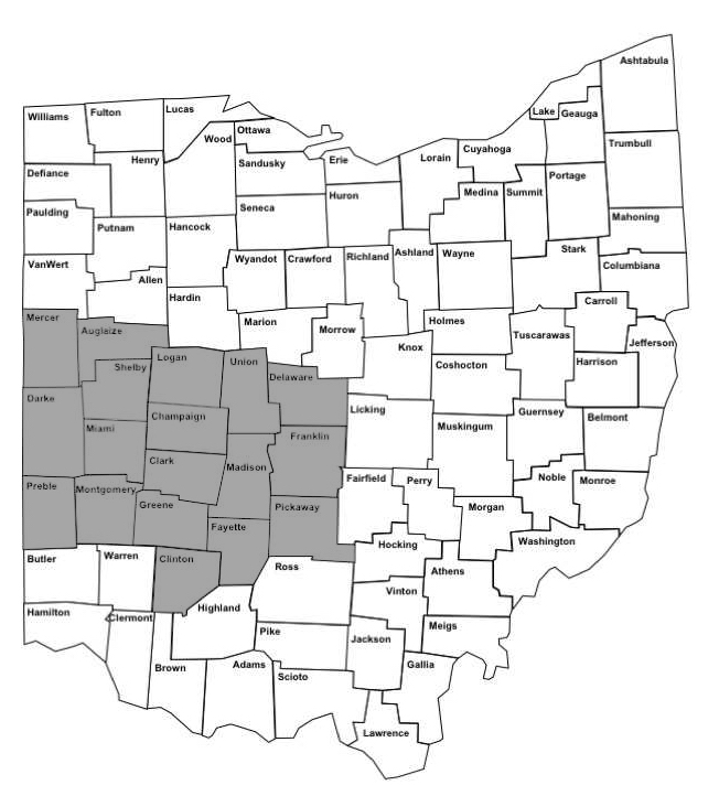 Map of southwest Ohio counties