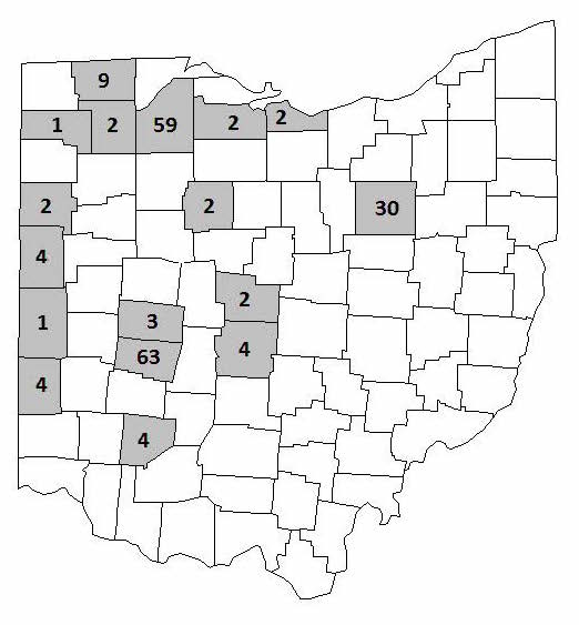 outline of Ohio counties with number of trials in select counties