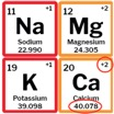 Periodic table of basic cations (clockwise starting at top left): sodium, magnesium, potassium and calcium.