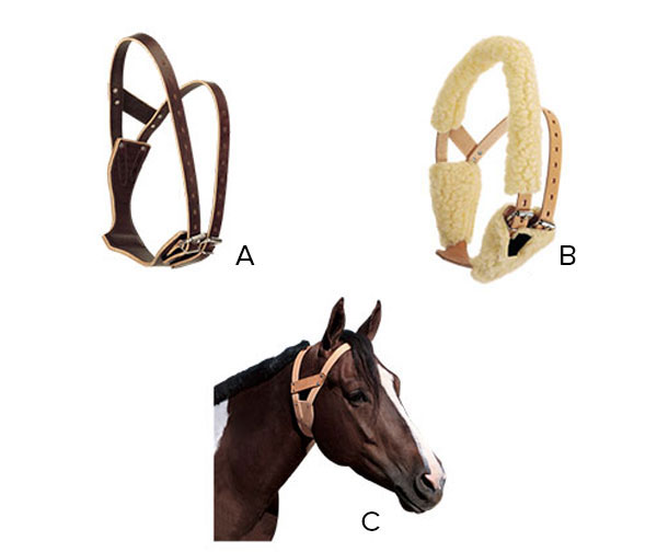 A is a brown leather cribbing collar, B is a cream color leather cribbing collar shown with fleece padding on straps, C is a cribbing collar shown on a horse