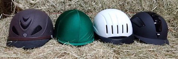 Photo of four different helmets.