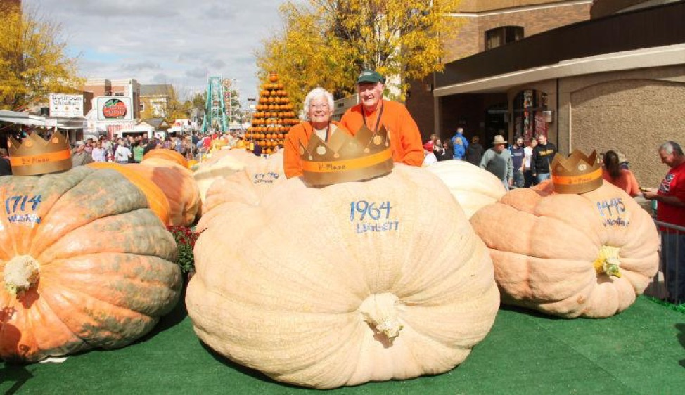 Two winners at the Circleville Pumpkin Show, with a 1964 Liggett