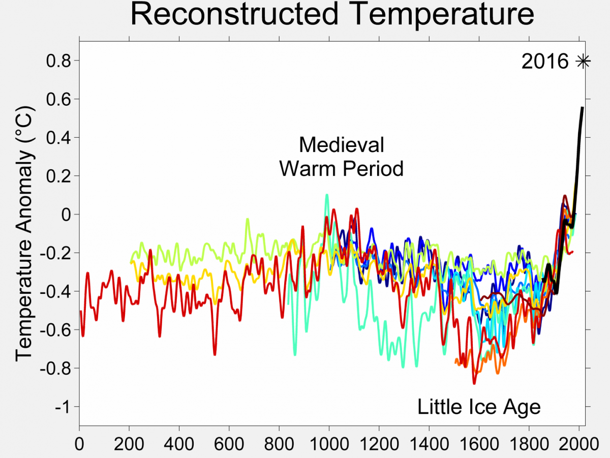 Chart with multiple colored lines to show global average of temperature changes