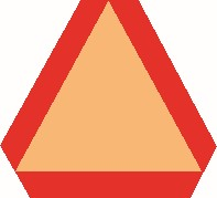 Slow moving vehicle emblem which is an orange triangle, with thick red borders on all sides.