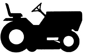 silhouette of a riding mower