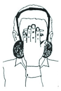 Drawing of a person with a hand on their nose and mouth, over respirator