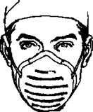 Line drawing of a man wearing a dust filter mask on his face.