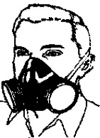 Line drawing of a man wearing a cartridge filter mask on his face.