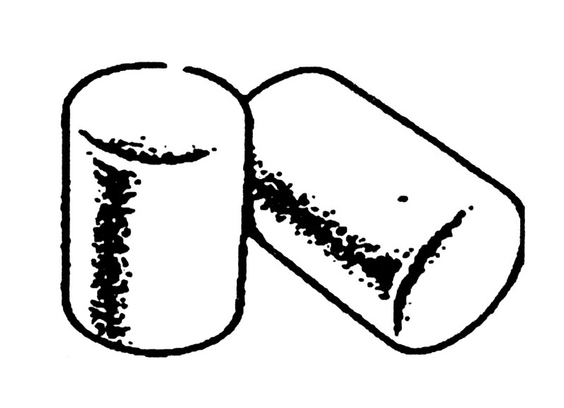 Line drawing of soft, foam ear plugs