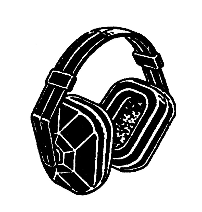Black and white image of headphones with two ear cups and headband connecting them