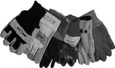 B&W image of array of gloves in various styles and materials