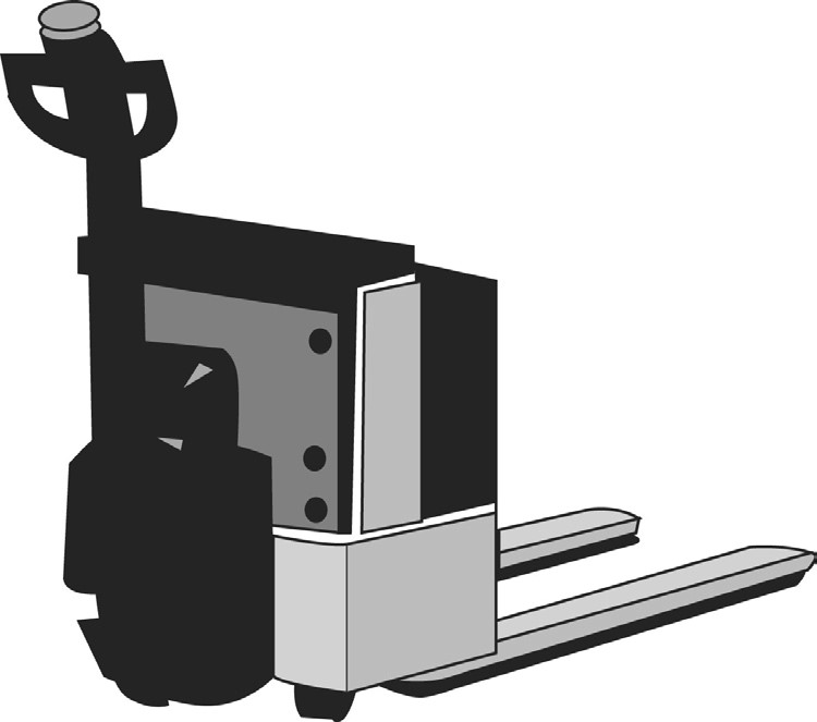 Illustration of a hand pallet truck.