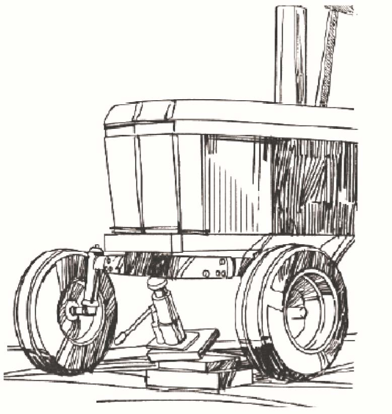 Illustration of a tractor with a jack improperly blocked underneath, and the jack is falling over