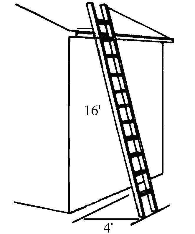 Illustration of four-to-one rule with top of ladder resting on roof edge and ladder bottom four feet out from roof line, sixteen foot height.