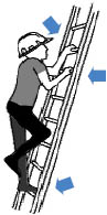 Illustration of a person on a ladder, with two hands on the rungs and one foot, demonstrating the three-point contact rule.