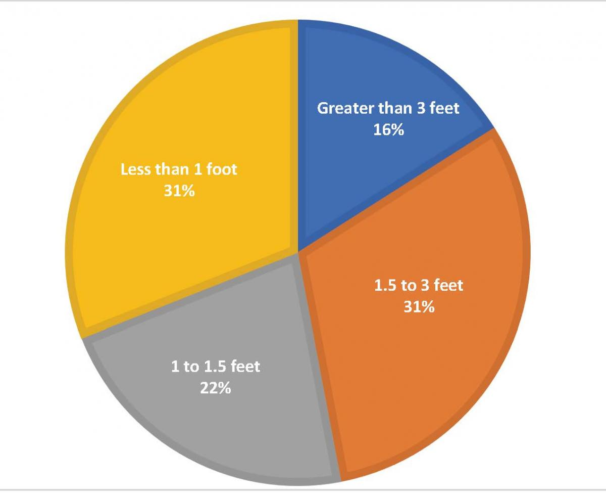 Pie chart with four sections: less than 1 foot 31%, greater than 3 feet 16%, 1 to 1.5 feet 22%, and 1.5 to 3 feet 31%.