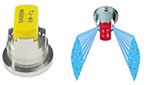 Two spray nozzles, one silver and yellow, one silver, red and blue
