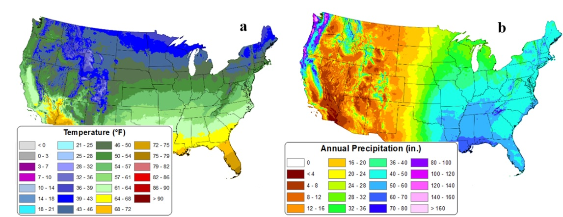 U.S. maps showing 30-year mean temperature and precipitation