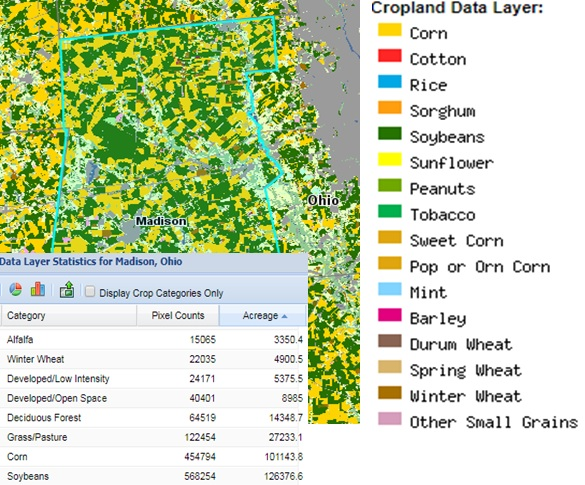 2016 Cropland Data Layer and Statistics for Madison County, Ohio