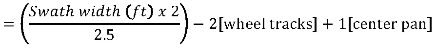 Formula to determine the number of collection pans needed for a desired swath width