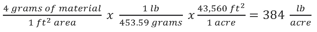 Divide mass of material by collection pan area and convert to a rate (lb/acre)