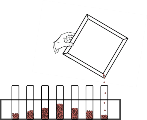 Illustration of material being poured into test tube in rack